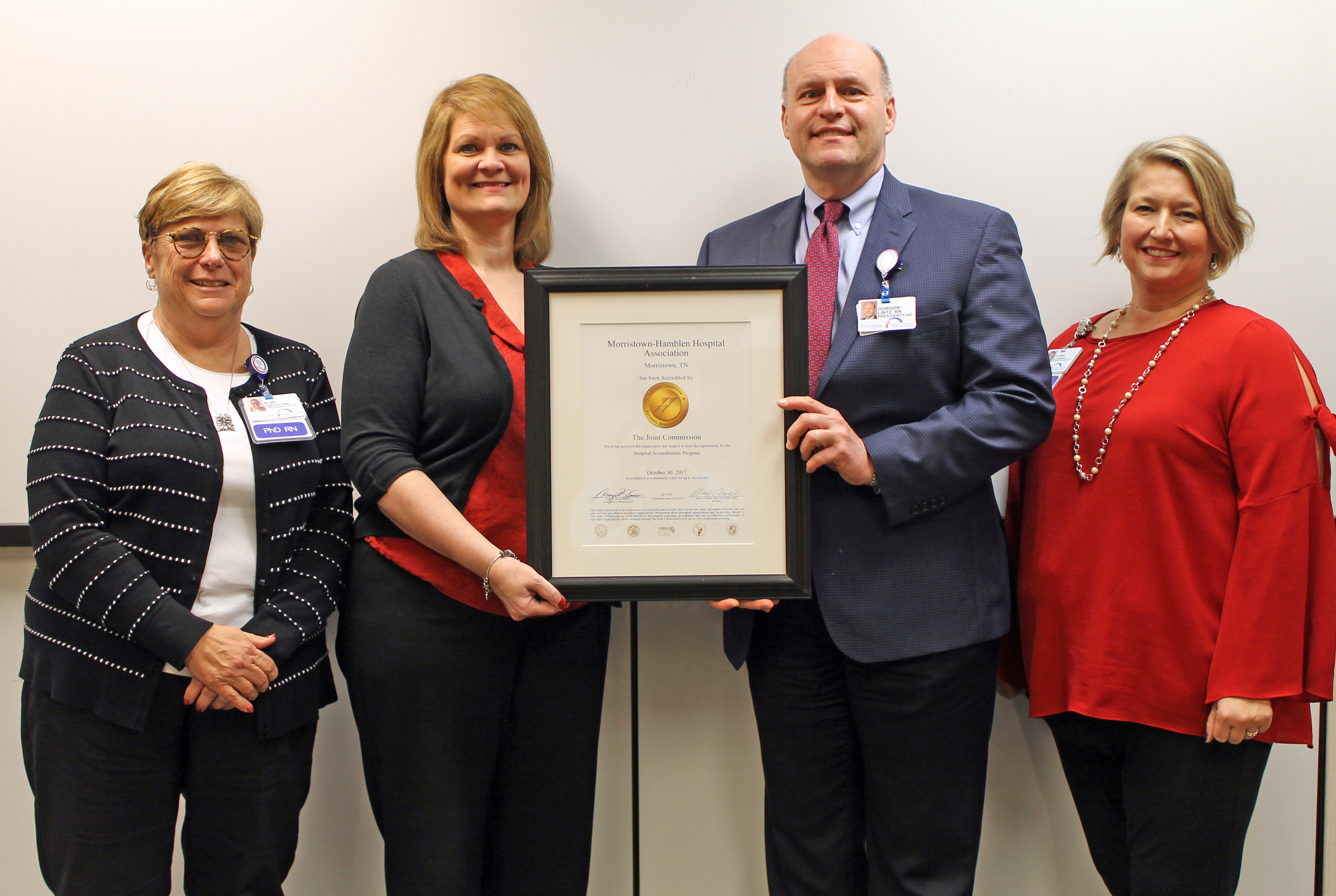 Morristown-Hamblen Healthcare System Administration holding certificate awarded by the Joint Commission