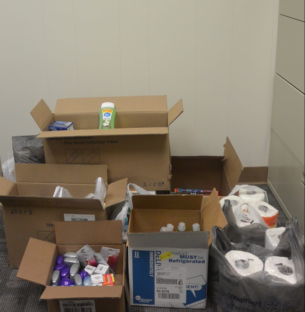 Collection of items from the lab staff for their service project.